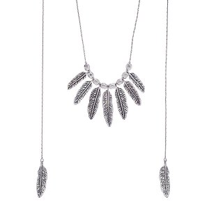 "60"" Chain Leaf Necklace Silver"