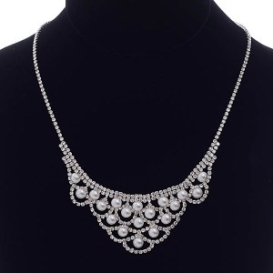 Pearl & Rhinestone Tiered Scalloped Necklace Set