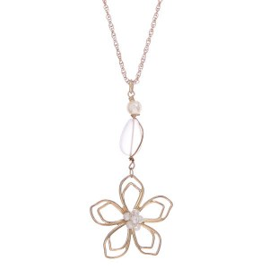 Wired Flower Pendant Necklace Gold