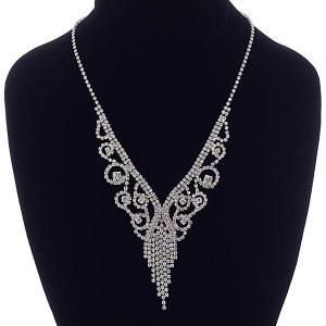 Scrollwork & Fringe Rhinestone Necklace Set