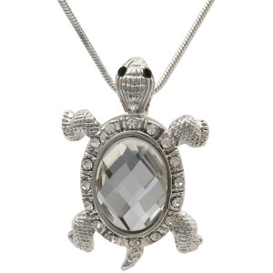 Turtle with Large Crystal Center Pendant Necklace