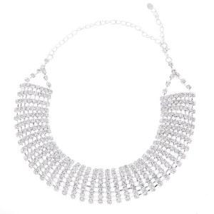 8 Line Curved Rhinestone Choker Set Silver