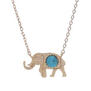 Turquoise Stone Elephant Pendant Necklace