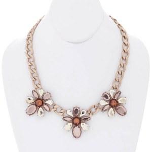 Brushed Gold Brown Necklace Set