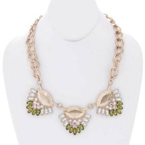 Brushed Gold Necklace Set Multi- Color