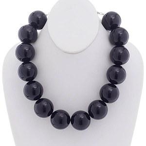 30mm Pearl Necklace Set Black