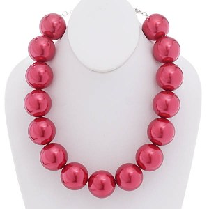 30mm Pearl Necklace Set Red