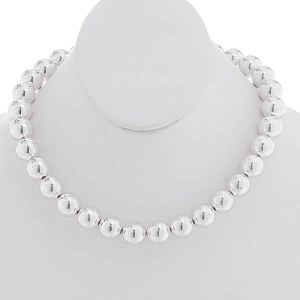 14mm Silver Ball Necklace Set