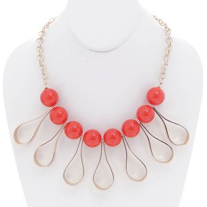 Open Teardrop Accents Beaded Necklace Set Red