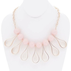 Open Teardrop Accents Beaded Necklace Set Pink