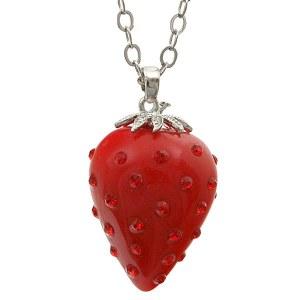 Red Rhinestone Strawberry Pendant Necklace