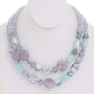 Crystal Necklace Set Blue/Lavender