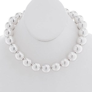 18mm Silver Ball Necklace Set