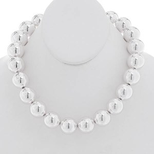 20mm Silver Ball Necklace Set