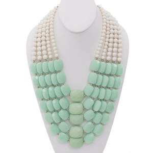 Two Tone Multi Strand Beaded Necklace Set Mint