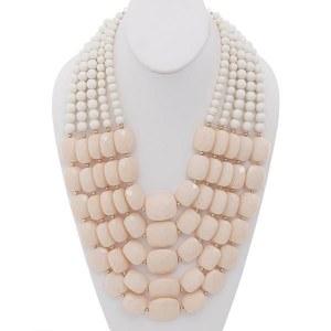 Two Tone Multi Strand Beaded Necklace Set Light Peach