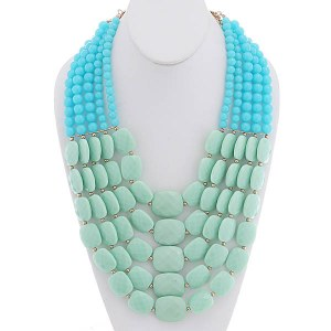 Mutli Strand Bead Necklace Set Mint and Turquoise