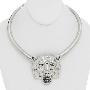Tiger Necklace Set Silver