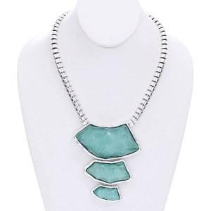 Stacked Organic Shape Turquoise Necklace Set