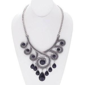 Stone Accent Swirl Necklace Set Black