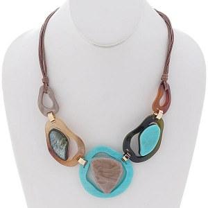 Celluloid Necklace Set Turquoise
