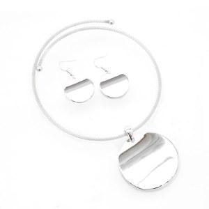 Silver Disc Choker Necklace Set