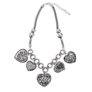 Dangling Filigree Hearts Necklace Set