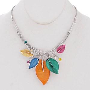 Bib Leaves Necklace Set Multi