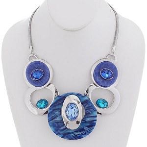 Bib Necklace Set Blue & Silver