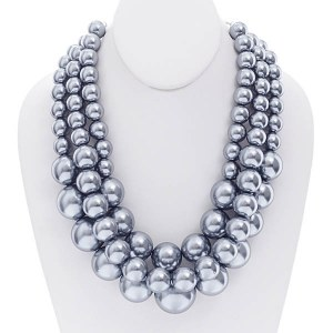 3 Strand Chunky Layered Pearl Necklace Set Grey