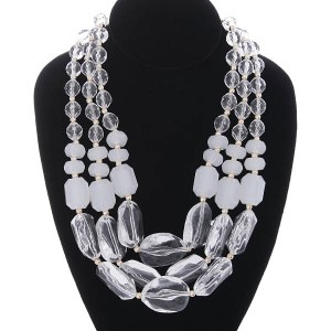 Chunky Multi Strand Bead Necklace Set Clear