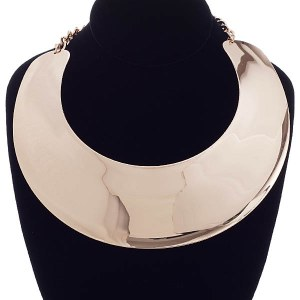 Wide Metal Collar Necklace Set Gold