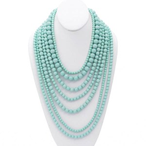 Multi Strand Layered Pearl Necklace Set Mint