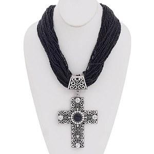 Cross Pendant Seed Bead Necklace Set Black
