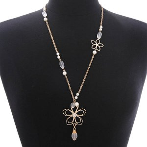 Wired Flower Long Pendant Necklace