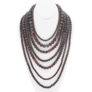 Multi Strand Layered Ball Bead Necklace Set Patina