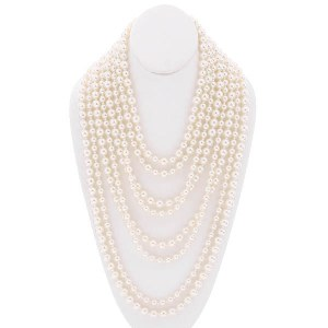 8 Strand Layered Pearl Necklace Set Cream