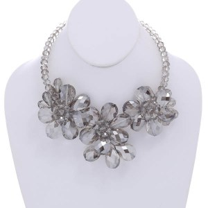 Crystal Beads Floral Statement Necklace Set Grey