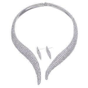 Rhinestone Open Choker Set Silver