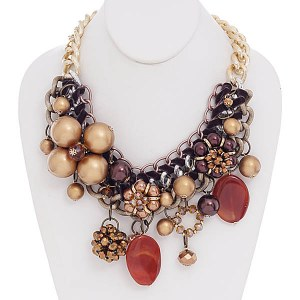 Flower & Charms Brown Necklace Set Brown