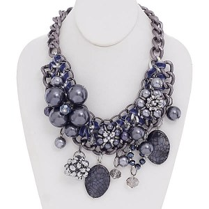 Flower & Charms Brown Necklace Set Hematite