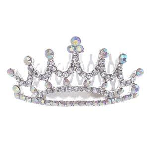 Mini Rhinestone Crown Tiara AB