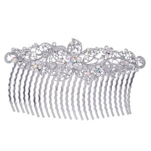 Filigree Flower Large Hair Comb Silver