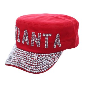 Atlanta Rhinestone Studded Cadet Cap Red
