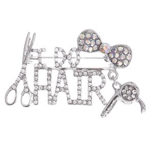 I Do Hair Charm Pin Silver