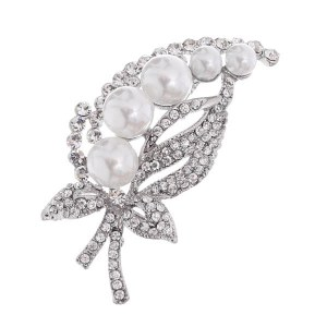 Pearl Accent Leaf Brooch / Pin Silver