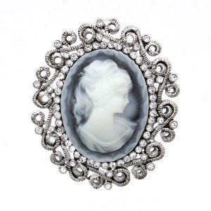 Oval Cameo Pin Blue / Silver