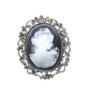 Framed Cameo Pin Blue