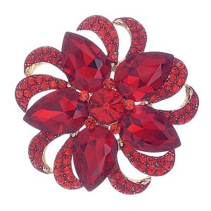 Floral Brooch Red