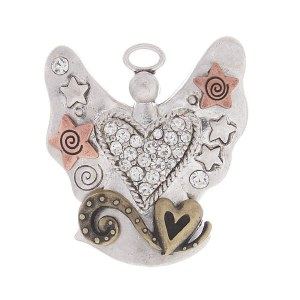 Angel with Hearts and Stars Pendant Mixed Metal